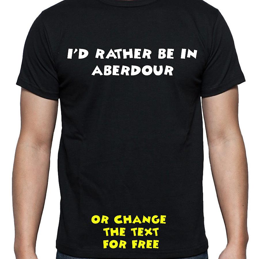 I'd Rather Be In Aberdour Black Hand Printed T shirt