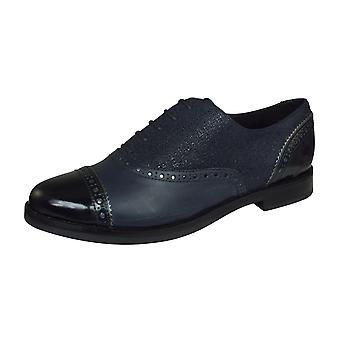 Geox D Promethea A Womens Leather Lace Up Shoes - Navy