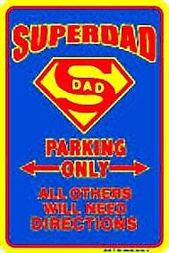 Superdad embossed metal sign