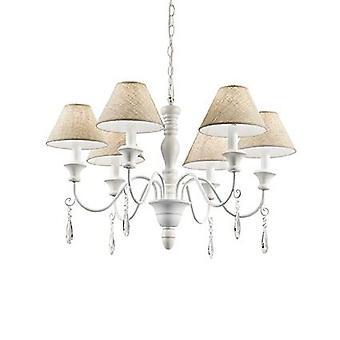 Idealne Lux - Prowansja biały drewno sześć żyrandol światła beżu odcienie IDL003399