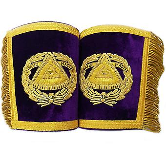 Masonic Gauntlets Cuffs - Grand Master Bullion Embroidered With Fringe - Purple