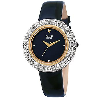 Burgi Women's Swarovski Crystal & Diamond Accented Silver & Fiery Red Leather Strap Watch BUR199BU