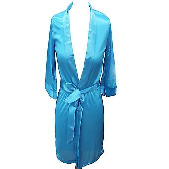 Mode Plain korte vrouwen bruidsmeisje kimono gewaad satijnen jurk