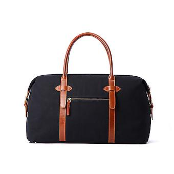 Hautton Leather Canvass And Tan Leather Mix Holdall 19.0