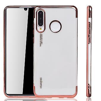 Handyhülle für Huawei P30 Lite Rose Pink - Clear - TPU Silikon Case Backcover Schutzhülle in Transparent / glänzender Rand Rose Pink