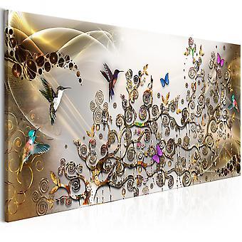 Canvas Print - Hummingbirds Dance (1 Part) Gold Narrow