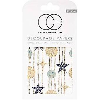 Craft Consortium White Stars Decoupage Papers (CCXDECP041)