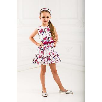 Floral weißes Mädchen Kleid