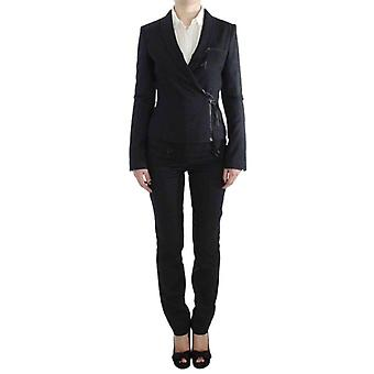 Exte Gray Two Piece Suit Zipper Jacket & Pants -- SIG3028357