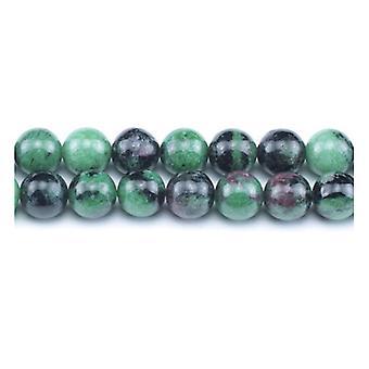 Filamento de 45 + verde/negro rubí Zoisite llano granos redondos de 8mm GS3112-3