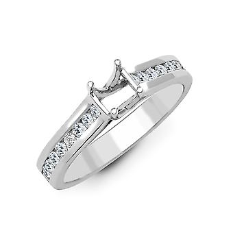 Jewelco London Solid 18ct White Gold Channel Set Round G SI1 0.5ct Diamond Semi Set Mount Engagement Ring 5.5mm