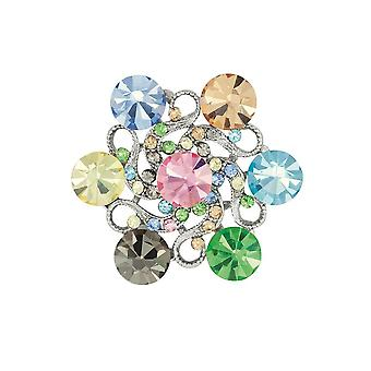 Eternal Collection Stanza Multicoloured Crystal Silver Tone Brooch