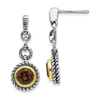 925 Sterling Silver Bezel Polished Post Earrings Antique finish Flash Gold-Flashed Gold-Flashed Smokey Quartz Antiqued E