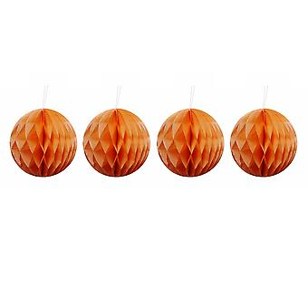 Pack de quatre Orange 10cm en nid d'abeille rétro Pom Pom décorations