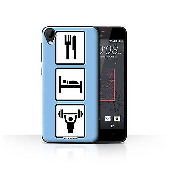 STUFF4 Case/Cover for HTC Desire 825/Lift/Gym/Blue/Eat/Sleep