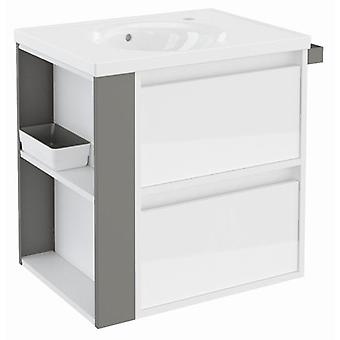 Bath+ Cabinet 2 Drawers With White Porcelain Sink Grey Gloss 60CM