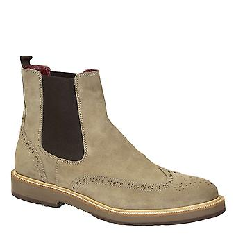 Two tone beige suede leather men's brogues wingtip chelsea boots