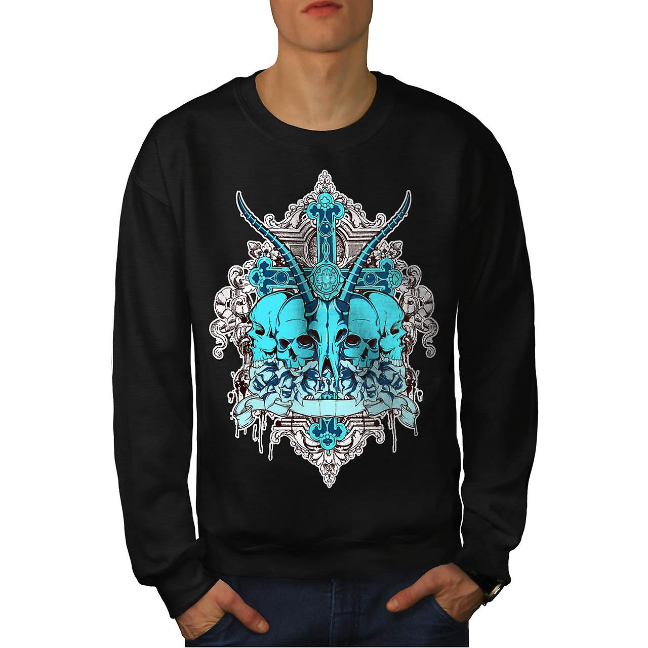 Dead Animal Cross Skull Men Black Sweatshirt | Wellcoda