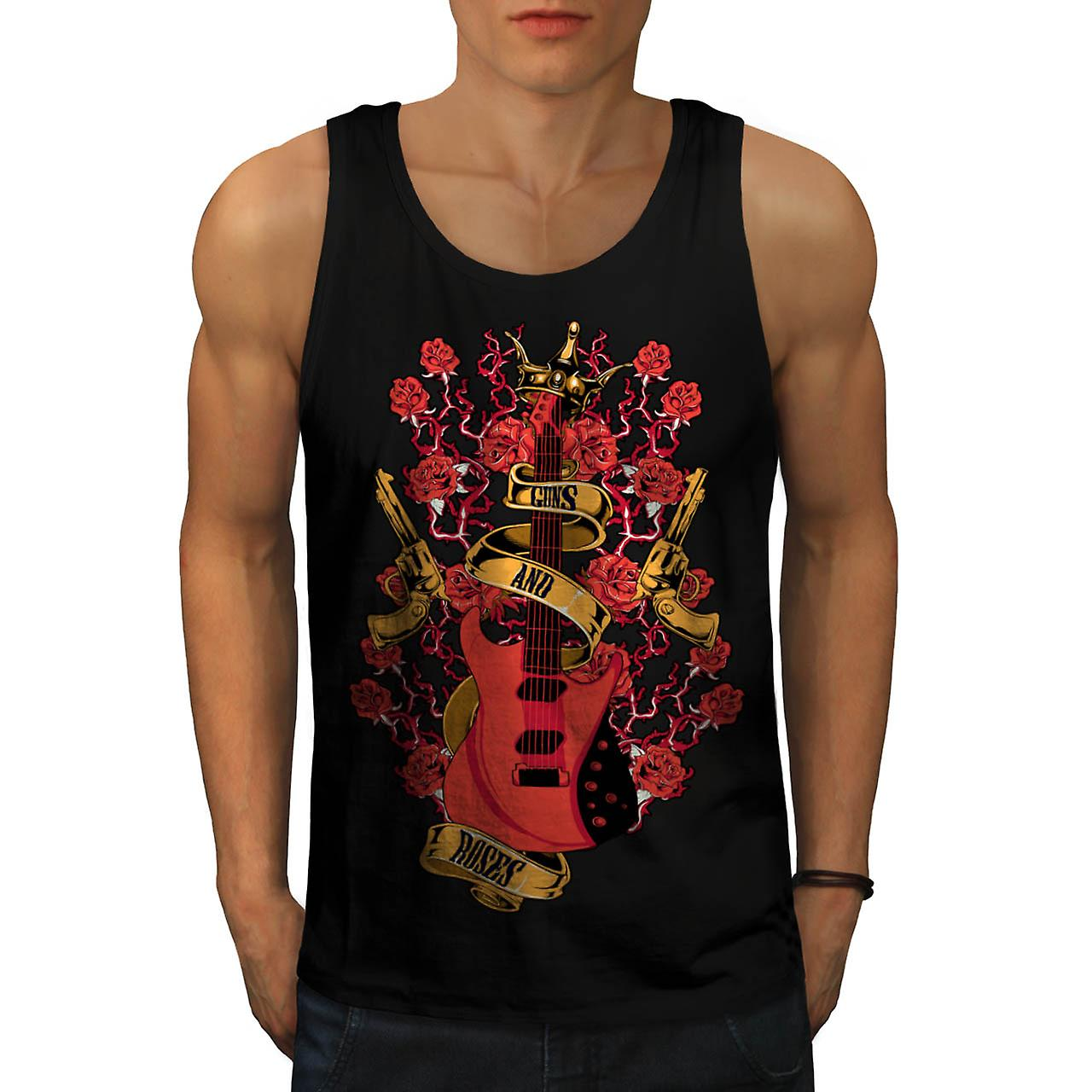 Roses and Guns Rock Band Music Men Black Tank Top | Wellcoda