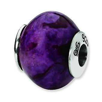 Sterling Silver Polished Antique finish Reflections Purple Magnesite Stone Bead Charm