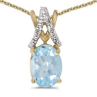14k Yellow Gold Oval Aquamarine And Diamond Pendant with 18