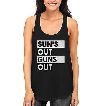Sun's Out Guns Out Women's Black Tanktop Workout Tank Summer Vacation Beach Wear