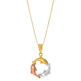 14k Tricolor Rose Gold Three Circling Dolphins Pendant On 18