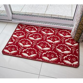 Rød geometriske Floral skridsikre Mat Luna