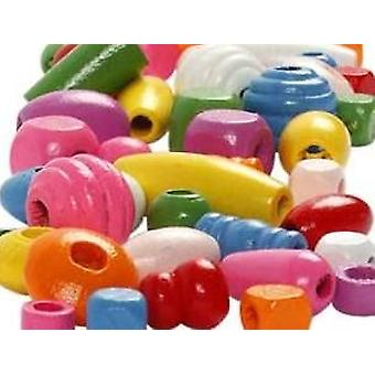 200g Assorted Colour Shaped Wooden Beads For Crafts | Wooden Craft Beads
