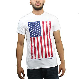 Levi s  Distressed American Flag Housemark Logo Men's White T-shirt