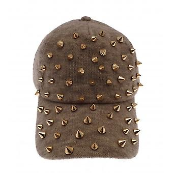 W.A.T Beige Jersey Gold Studded Spiked Snapback Baseball Cap