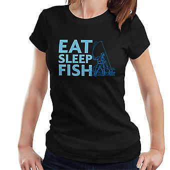 Eat Sleep Fish Blue Fisherman Women's T-Shirt