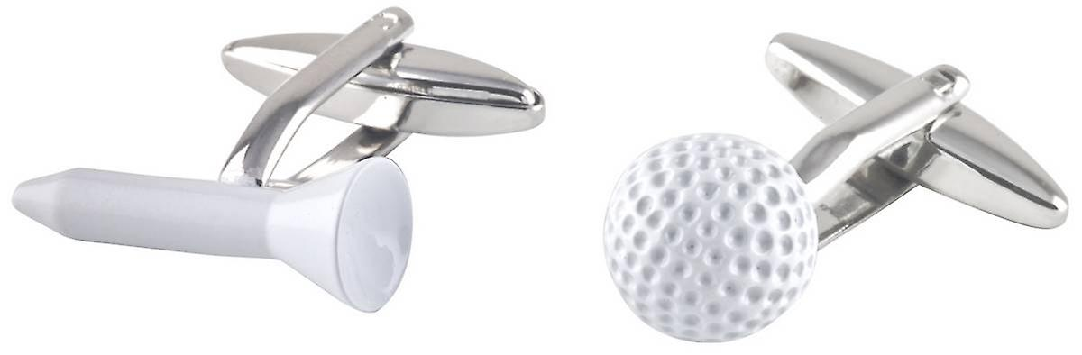 David Van Hagen Golf Ball and Tee Cufflinks - Silver/White
