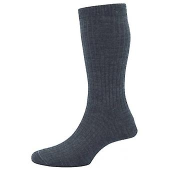 Pantherella Hemingway Rib Escorial Wool Socks - Dark Grey Mix