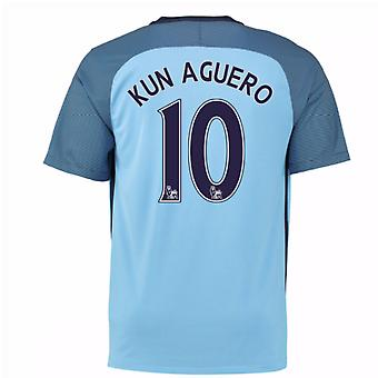 2016 / 17 Mann City Home Shirt (Kun Agüero 10) - Kinder