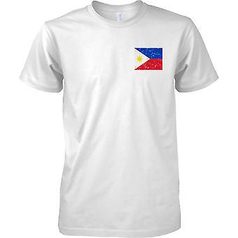 Filipinas agobiados Grunge efecto bandera diseño - niños pecho diseño camiseta