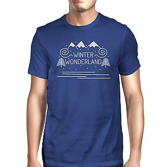 Winter Wonderland Mens Blue Crewneck T-Shirt For Christmas Gifts