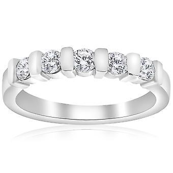 تعيين 1/2 ط 5-حجر الماس شريط زفاف 14 ك الذهب الأبيض خاتم الزفاف
