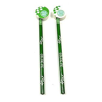 Celtic FC Official Football Crest Pencil & Rubber Topper Set (Pack Of 2)