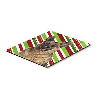 Candy Cane Holiday Christmas German Shepherd Mouse Pad, Hot Pad or Trivet