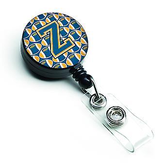 Lettera Z calcio blu e oro retrattile Badge Reel