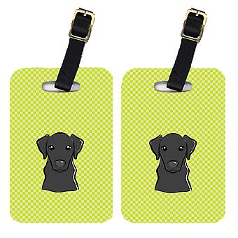 Pair of Checkerboard Lime Green Black Labrador Luggage Tags