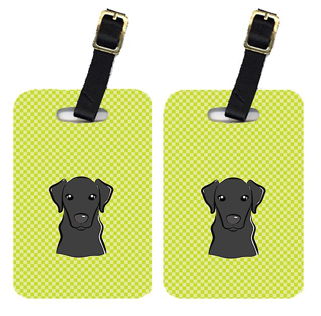 Par schackrutiga Lime grön svart Labrador bagagebrickor