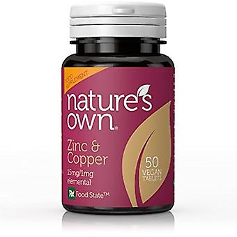 Natures Own Food State Zinc and Copper 15mg/1mg Elemental, 50 Tabs
