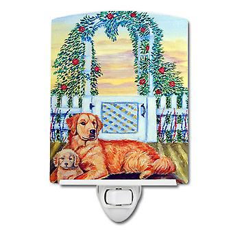 Golden Retriever and puppy at the fence Ceramic Night Light