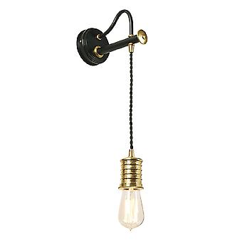 DOUILLE1 BPB  Douille Wall Light,Cord,Black,Polished Brass( Fitting )