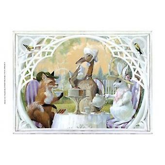 Rabbits Tea Party Poster Print by Dot Bunn (16 x 12)