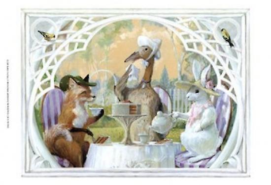 Rabbits Tea Party Poster Print by Dot Bunn (16 x 12)