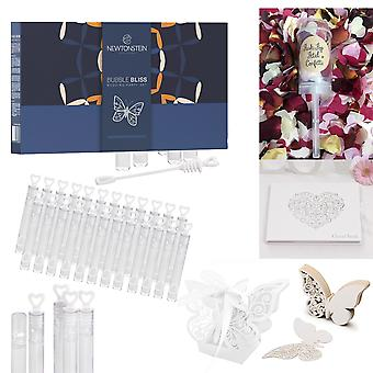 BubbleBliss MATRIMONY - 136pcs Wedding Party Set - 50pcs Wand Tube Bubble Maker 25pcs Butterfly Place Cards for Wine Glass Cup Decoration + 25 Glue Dots Heart Party Wedding Guest Book 10pcs Push Pop Confetti Rose Petal & Hearts 25pcs Butterfly Wedding Candy Boxes + Silver Ribbon Ties.