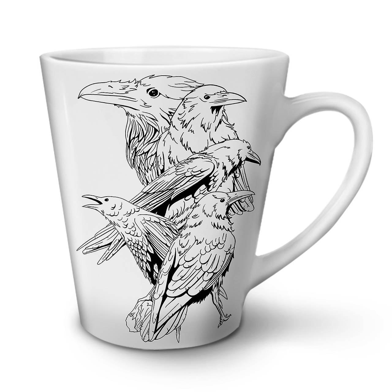 OzWellcoda Raven En Effrayant 12 Blanche Café Quatre Latte Nouvelle Tasse Céramique wyvmN8On0P